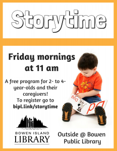 Outside Storytime at the library will be happening Fridays at 11am.