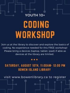 Youth Ages 10+ Coding Workshop @ Bowen Island Library