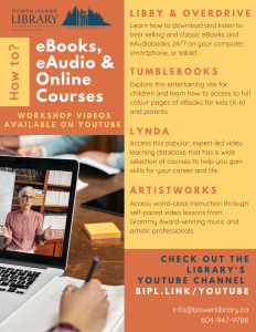 How to eBooks, eAudio, and online courses. Library workshop videos available on YouTube